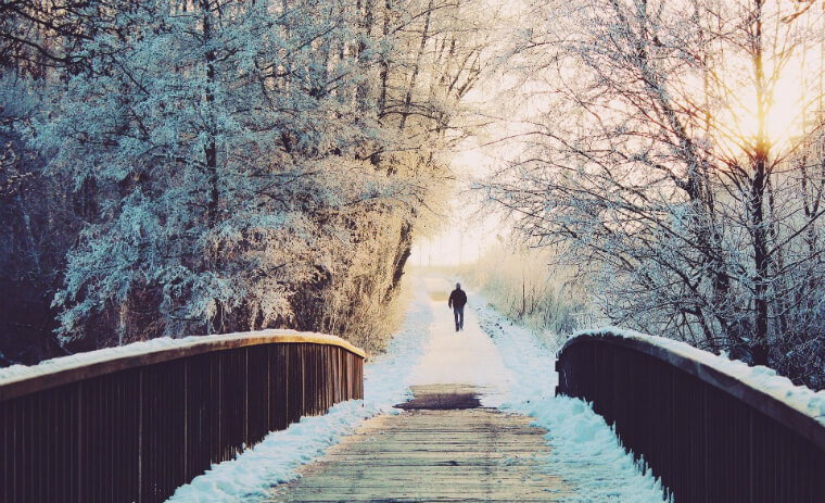 Man Wlaking In Winter